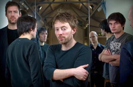 Oxford based band Radiohead photographed in the attic of the Oxford Playhouse theatre. From left to right: Colin Greenwood,  Ed O'Brian, Thom Yorke, Jonny Greenwood and Phil Selway. Photo©Steve Forrest